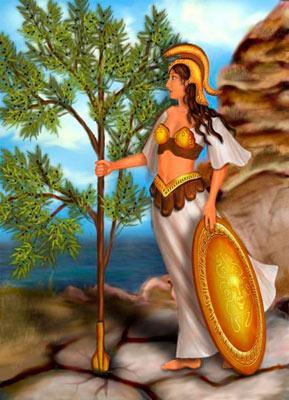 Афина воткнула копьё и выросло оливковое дерево