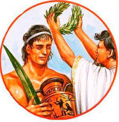 Награждение победителя оливковой ветвью