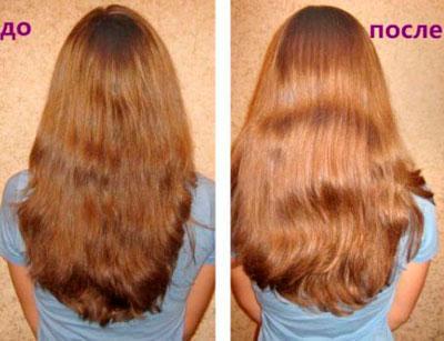 Волосы до и после осветления с помощью оливкового масла и лимонного сока