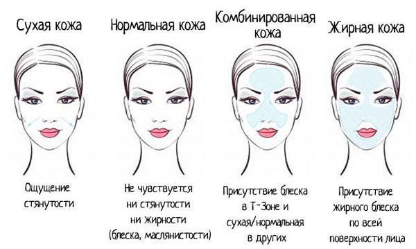 Характеристики типов кожи лица